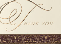 Filigree Border Thank You Card